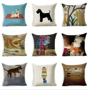 18quot;*18quot; Dog Home Cover Cushion Throw Cartoon Decor Case Pillow Linen Cotton $3.09