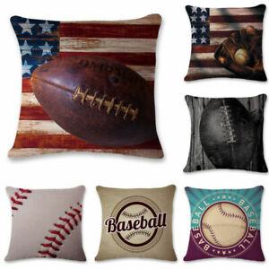 Sofa 18#x27;#x27; Throw Pillow Cover Home Case Baseball Cushion Cotton Linen $3.09