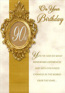 Ornate Gold Foil Die Cut Window Frame Age 90 90th Birthday Card