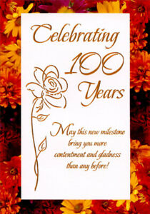Celebrating 100 Years Thin Foil Flower Age 100 100th Birthday Card