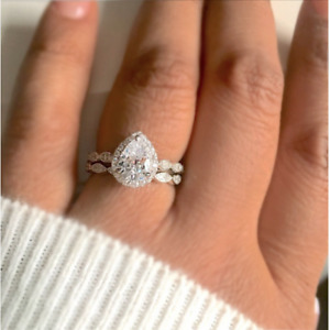 Women Fashion White Gold Plated Pear Cut White Topaz Wedding Bridal Ring Jewelry