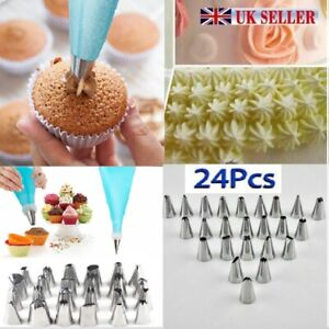 24 PIECES ICING PIPING NOZZLE TOOL SET CAKE CUPCAKE PASTRY SUGARCRAFT DECORATING GBP 4.49