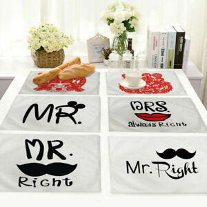 English Letter Insulation Cotton Linen Placemat Dining Table Mat Home Kitchen