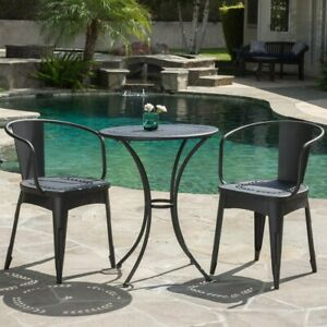 Patio Bistro Set Sand Metal Round Outdoor w Weather Resistance Black (3-Piece)