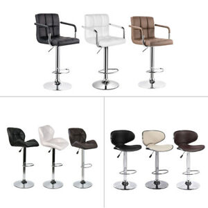 Set of 2 Bar Stools Swivel Adjustable Swivel Leather Seat Back Pub Counter Chair