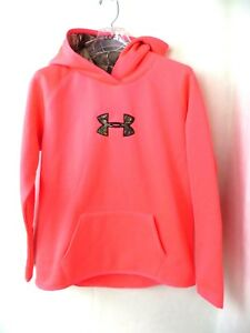 Under Armour Girls Big Logo Hoodie Loose Fit Neon and Pink Camo Youth YXL XL