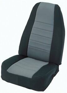 Smittybilt 471322 Seat Cover Front And Rear Black Sides Charcoal Center
