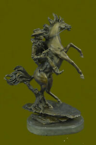 Hand Made Bronze Sculpture Cowboy and Rearing Horse by Famous Artist Decor