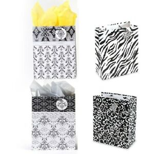 Large White and Black Design Matte Finish Gift Bags - CASE OF 120