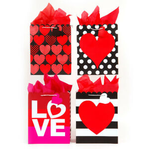 Large Sending Love Scalloped Die Cut Gift Bag 4 Designs - CASE OF 120