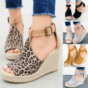 Women's Wedge High Heel Espadrilles Sandals Ankle Strap Casual Shoes Size 6-10.5