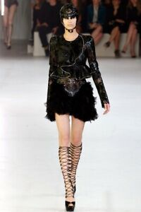 Alexander McQueen Runway Laser Cut Leather Custom Jacket Skirt Dress Coat
