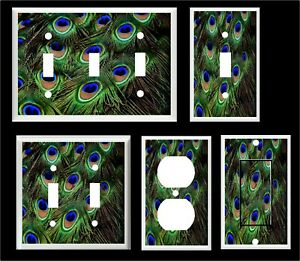PEACOCK FEATHERS #5 DESIGN LIGHT SWITCH PLATE  COVERS MULTI SIZES