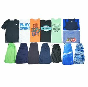 14 PC BOYS SZ 8-10 ATHLETIC DRI-FIT NAME BRAND LOT SCHOOL OUTFITS SHORTS SHIRTS