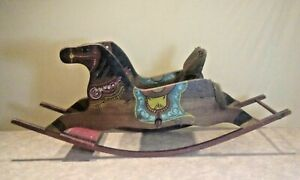 Antique Pa.HandmadeHand Painted Rocking Horse.Orig Paint Display REVISED $215.00