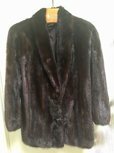 Elegant Natural Ranch Dark Brown Mink Jacket Size Small