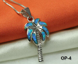 PALM TREE NECKLACE PENDANT 925 STERLING SILVER OPAL INLAY W 16IN CHAIN OP4 MAXF $24.70