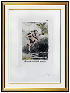 Salvador Dali Etching HAND SIGNED Original Surreal Artwork Les Caprices De Goya $1995.00