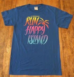Womens Brooks Run Happy Island Sports Athletic Wear T Shirt Size S (NWOT)