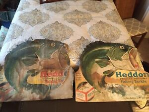 2 VINTAGE HEDDON fishing advertising die cuts display lure bait poster bass