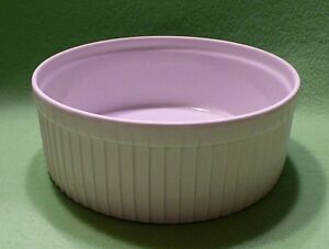 Pillivuyt FRANCE Model 721 ROUND baking oven dish in white/ribbed.  7 1/8th