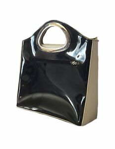 BEIJO Black Beige CHROME Patent Leather Handbag Tote PURSE Clutch wHandles NWOT