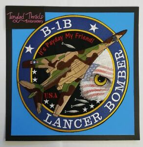 B-1B Lancer Bomber, Military Plane Embroidered Patch 10.5