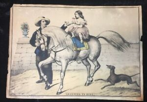 1800's Antique Learning to Ride Horace Thayer Litho Hand tinted