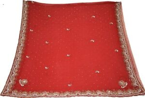 Indian Vintage Dupatta Embroidered Georgette Red Long Stole Antique Thread DC349 $33.99