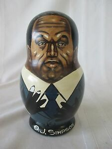 Vintage 7 Piece O.J. Simpson Russian Nesting Doll  Very Clever Rare collectible