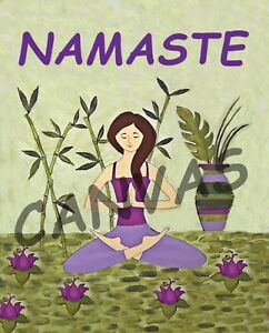 : Namaste Yoga Spa Meditation Wall Art Watercolor Canvas Art Home Deco