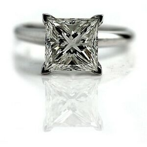 1.80 Carat Elegant Natural Diamond Engagement RIng Princess Cut DVS2