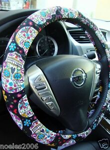 Handmade Steering Wheel Cover Day of the Dead Skulls Folkloric Black