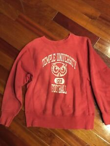 Vintage RARE CHAMPION REVERSE WEAVE Sweatshirt TEMPLE UNIVERSITY SZ Medium Red