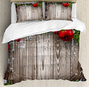 Christmas Elements Duvet Cover Set Twin Queen King Sizes with Pillow Shams