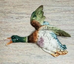 Antique Majolica Duck Pottery Wall Pocket