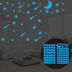 108Pcs Luminous Stars Glow in The Dark Ceiling Wall Stickers Kids Room Decor New