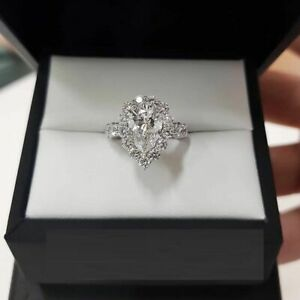 Halo Engagement Weeding Ring Real 10k White Gold 2.50ct Pear & Round Cut Diamond