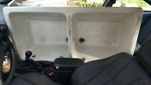 Antique Double Basin Cement Utility Laundry Sink Year 110 Old NYC W. Covers