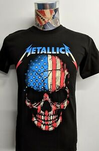 BRAND NEW METALLICA RED WHITE BLUE AMERICA SKULL CLASSIC HEAVY METAL BLACK SHIRT