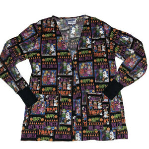 Landau Scrub Top Small Halloween Pumpkin Trick Treat Button Long Sleeve Nurse