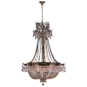 USA Winchester 12 Light Antique Bronze w Clear Crystal Chandelier 36x50