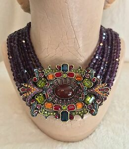 NEW HEIDI DAUS Purple 6 Row Oval Pendant  Beaded Necklace