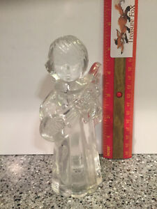 Clear Glass Angel Playing a String Instrument Candle Holder