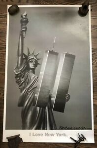 Rare Robert Rauschenberg Foundation I Love New York. Signed Poster Twin Towers