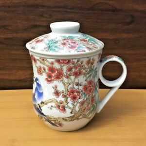 Ceramic Tea Infuser Cup with Blue Birds, Cherry Blossoms & Finger Handle