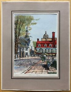 "Vintage Marc Signed Hand Colored Engraving Rue du Tresor Quebec Mat 10"" x 13"" $189.95"
