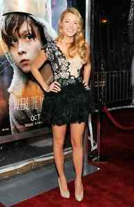 MARCHESA NUDE SEQUIN AND BLACK FEATHER  DRESS SIZE 2  XS NWOT!!