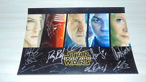 Star Wars The Force Awakens Cast Signed Autographed 8x12 Daisy Ridley Ford wCOA