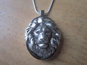 STAINLESS STEEL LION URN NECKLACE MOURNING ASHES LOCK OF HAIR LION#x27;S HEAD $53.95